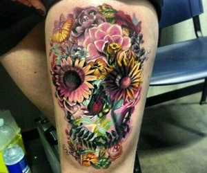 skull, tattoo, and flowers image