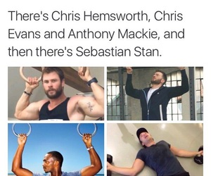 sebastian stan, chris evans, and chris hemsworth image