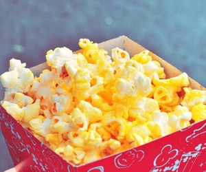 food, popcorn, and yellow image