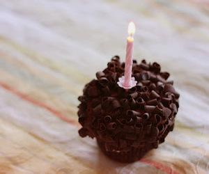cupcake, chocolate, and candle image