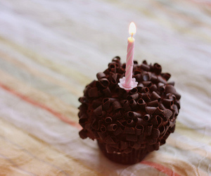 cupcake, chocolate, and candle image