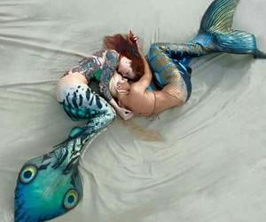 mermaid, beautiful, and love image