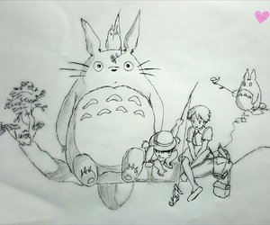 anime, drawing, and totoro image