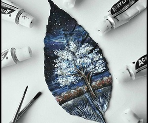 leaf, night, and painting image