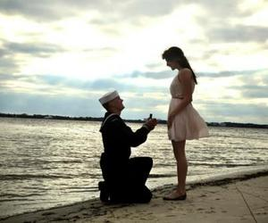 army, couple, and proposal image