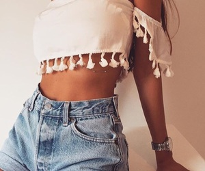 high waisted shorts, white, and crop top image