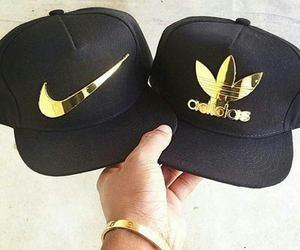 cap, adidas, and gold image