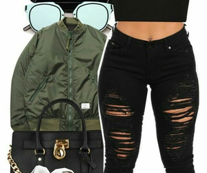 bomber jacket, adidas sneakers, and black crop tank top image