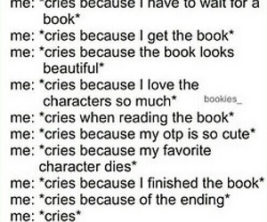 book, books, and cry image