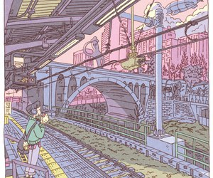 train station, art, and pastel image