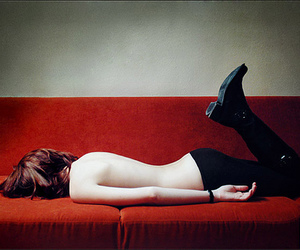 red and sofa image