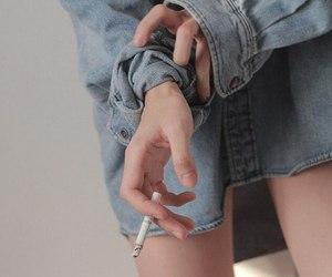 girl, cigarette, and smoke image