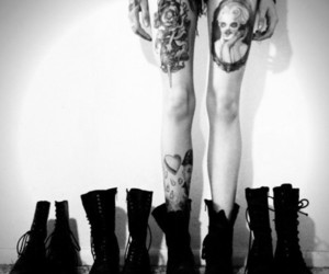 tattoo, boots, and black and white image