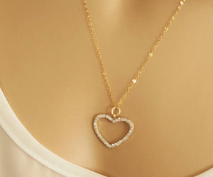 crystal heart, dainty necklace, and gifts for her image
