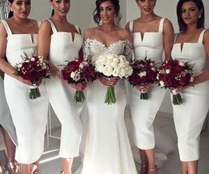 v-neck bridesmaid dress, bridesmaid dress white, and 2018 bridesmaid dresses image