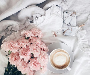 cappuccino, iphone, and flowers image
