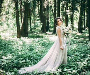 dress, forest, and travel image