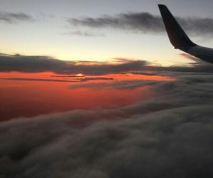 sky, sunset, and plane image