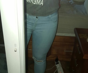 jeans, nike outfit, and grey and blue image