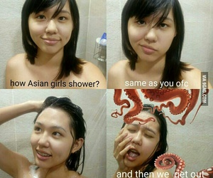 9gag, asian girls, and shower image
