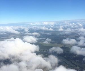 blau, flugzeug, and wolken image