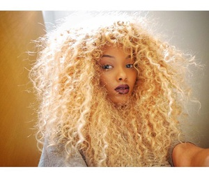 black girl, blonde, and curls image