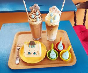 cake, milkshake, and gourmet image