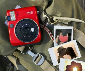 camera, polaroid, and red image