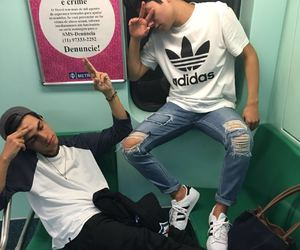 boy, friends, and adidas image