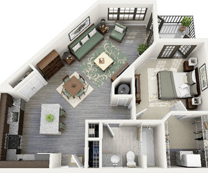 3d, apartment, and interior image
