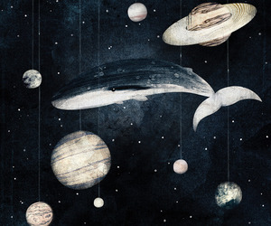 art, planets, and whale image
