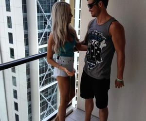 blonde, couple, and high waisted shorts image
