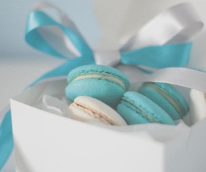 sweet, macaron, and blue + white image