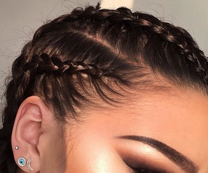 makeup, braid, and hair image
