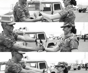black and white, happiness, and soldiers image
