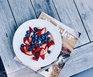 blueberries, food, and magazine image