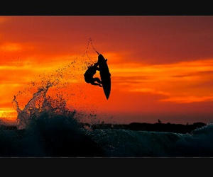 sunset, surf, and waves image