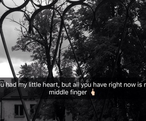 alone, middle finger, and snapchat image