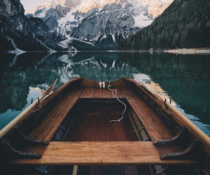 boat, nature, and mountains image