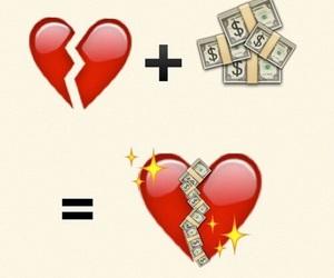 money, heart, and emoji image
