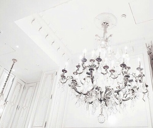 white, luxury, and chandelier image