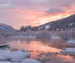 pink, sky, and snow image