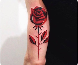red, tattoo, and rose image