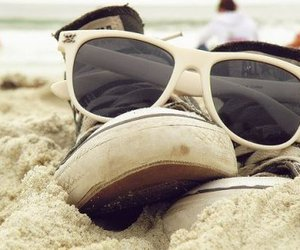beach, converse, and sunglasses image