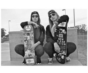 skate, black and white, and girl image