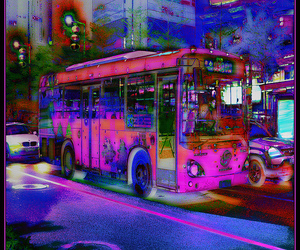 blue, bus, and night image
