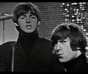 black and white, the beatles, and john lennon image