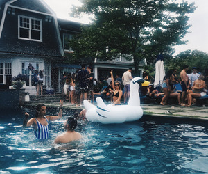 summer, party, and pool image