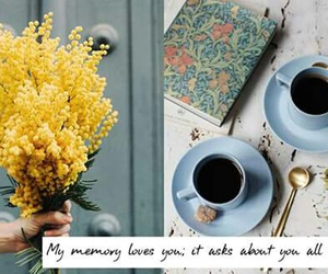 books, coffe, and flowers image