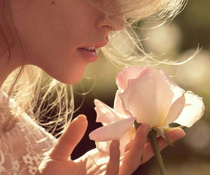 beautiful, blond hair, and flowers image